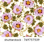 seamless pattern. golden... | Shutterstock . vector #769757539