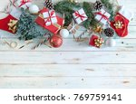 christmas gifts and decorations ...   Shutterstock . vector #769759141