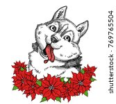 cute husky with christmas... | Shutterstock .eps vector #769765504
