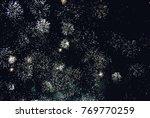 explosion of diverse fireworks... | Shutterstock . vector #769770259