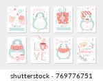 set of 8 cute ready to use gift ... | Shutterstock .eps vector #769776751
