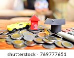 hat education  house model and...   Shutterstock . vector #769777651