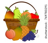 basket with fruits on a white... | Shutterstock .eps vector #769783291