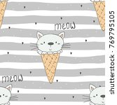 Stock vector hand drawn seamless pattern with cute cat doodle illustration for kids vector print 769795105