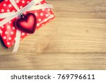 top view red pink heart and... | Shutterstock . vector #769796611