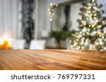 desk space and christmas time  | Shutterstock . vector #769797331