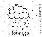 coloring with cute cloud and... | Shutterstock .eps vector #769802419