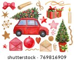 watercolor illustration  red... | Shutterstock . vector #769816909