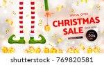 christmas sale. elf's legs and... | Shutterstock .eps vector #769820581