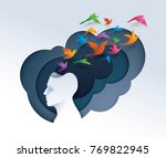 human head with colorful birds... | Shutterstock .eps vector #769822945