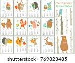 2018 calendar with cute forest... | Shutterstock .eps vector #769823485