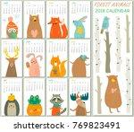 2018 calendar with cute forest... | Shutterstock .eps vector #769823491