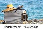 beach bag on sand. summer... | Shutterstock . vector #769826185