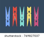 colored clothespins set. vector ...   Shutterstock .eps vector #769827037