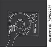hand holding a dj table  vector ... | Shutterstock .eps vector #769831279