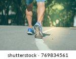 close up shoe of runner feet... | Shutterstock . vector #769834561