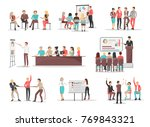 co workers do job in teams and... | Shutterstock . vector #769843321