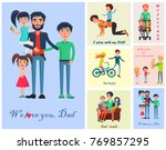 happy life moments with father  ... | Shutterstock . vector #769857295