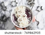 winter christmas smoothie bowl... | Shutterstock . vector #769862935