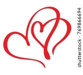 two red lovers heart. handmade... | Shutterstock .eps vector #769866694