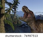 tyrannosaurus rex   3d dinosaur | Shutterstock . vector #76987513