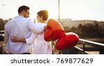 young couple in love dating and ... | Shutterstock . vector #769877629