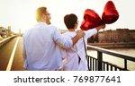 sentimental couple in love... | Shutterstock . vector #769877641