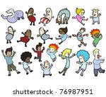 crazy dancing people cartoon... | Shutterstock .eps vector #76987951