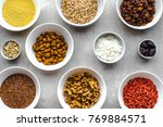 table with food  selection of... | Shutterstock . vector #769884571