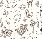 hand drawn doodle sea life... | Shutterstock .eps vector #769888795