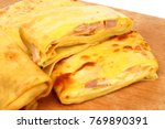 pancakes on the kitchen board  | Shutterstock . vector #769890391