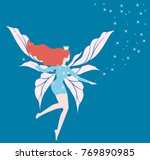 shining blue fay with long hair ... | Shutterstock .eps vector #769890985