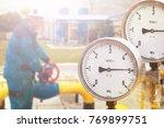 industrial zone steel pipelines ... | Shutterstock . vector #769899751