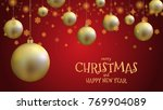 gold christmas ball and gold... | Shutterstock .eps vector #769904089