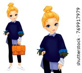 girl dressed in a sweater with... | Shutterstock .eps vector #769917979