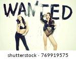 pretty brunette women painters... | Shutterstock . vector #769919575