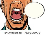 close up mouth screams male ... | Shutterstock .eps vector #769920979