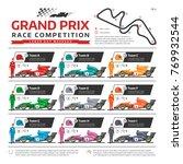 race car with racer vector... | Shutterstock .eps vector #769932544