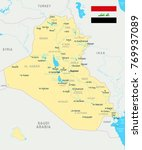 iraq map and flag   high... | Shutterstock .eps vector #769937089