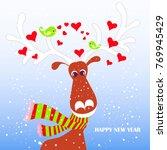 cartoon fan  cute reindeer in...   Shutterstock .eps vector #769945429