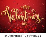 happy valentines day gold... | Shutterstock .eps vector #769948111