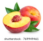 Peach fruit half with leaf...
