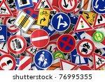 many european traffic signs... | Shutterstock . vector #76995355