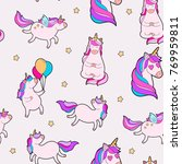 cute fat unicorn pattern.... | Shutterstock .eps vector #769959811