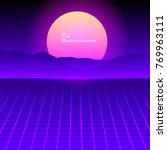 eighties retro sunrise over...   Shutterstock .eps vector #769963111