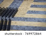 lines of chairs in an empty... | Shutterstock . vector #769972864