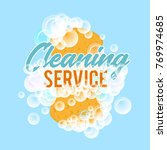clraning service logo or badge. ... | Shutterstock . vector #769974685