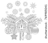 christmas coloring page.... | Shutterstock .eps vector #769985041