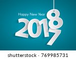 turquoise happy new year 2018... | Shutterstock .eps vector #769985731