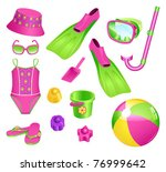 beach accessories for girl | Shutterstock .eps vector #76999642